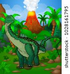 cute cartoon diplodocus. vector ... | Shutterstock .eps vector #1028161795