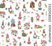 fairytale fantastic gnome dwarf ... | Shutterstock .eps vector #1028162011