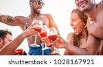 happy friends drinking sangria...   Shutterstock . vector #1028167921