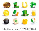 st. patrick's day icons and... | Shutterstock .eps vector #1028170024