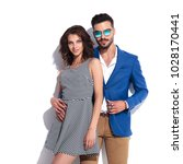 happy smiling couple standing...   Shutterstock . vector #1028170441