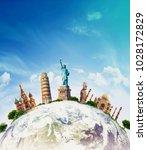 famous landmarks of the world... | Shutterstock . vector #1028172829
