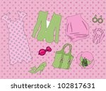 retro clothes for woman   Shutterstock .eps vector #102817631