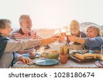 happy senior friends having fun ... | Shutterstock . vector #1028180674