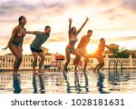 group of happy friends jumping... | Shutterstock . vector #1028181631