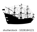 black silhouette of the pirate... | Shutterstock .eps vector #1028184121