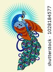 peacock  old school tattoo image | Shutterstock .eps vector #1028184577