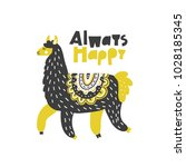 happy lama vector drawing made... | Shutterstock .eps vector #1028185345