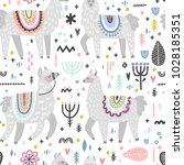 seamless pattern with lamas... | Shutterstock .eps vector #1028185351