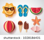 summer vector elements set with ... | Shutterstock .eps vector #1028186431