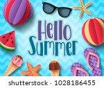 hello summer vector banner... | Shutterstock .eps vector #1028186455