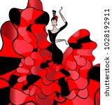 woman dancer flamenko | Shutterstock .eps vector #1028192911