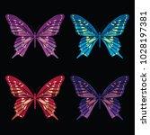set collection of butterflies... | Shutterstock .eps vector #1028197381