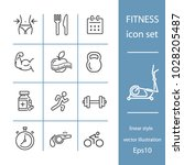 fitness icon set  line style ... | Shutterstock .eps vector #1028205487