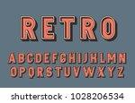 3d retro font. vintage vector... | Shutterstock .eps vector #1028206534