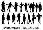 people wearing winter clothes... | Shutterstock .eps vector #1028212231