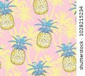 pineapples background. seamless ... | Shutterstock .eps vector #1028215234
