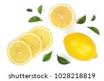 lemon and slices with leaf... | Shutterstock . vector #1028218819