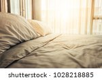 bed maid up with clean white ... | Shutterstock . vector #1028218885