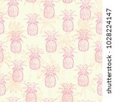 pineapples background. seamless ... | Shutterstock . vector #1028224147