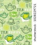 hand drawn doodle tea pattern | Shutterstock .eps vector #1028229721