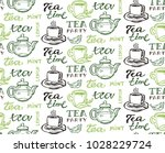 hand drawn doodle tea pattern | Shutterstock .eps vector #1028229724