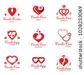 red heart shapes made using ecg ... | Shutterstock .eps vector #1028233069