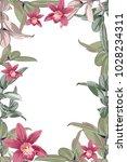 green and pink ficus elastica... | Shutterstock .eps vector #1028234311