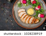 baked chicken breast and fresh...   Shutterstock . vector #1028238919