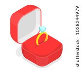 wedding ring in the box... | Shutterstock .eps vector #1028244979