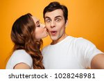 portrait of two people making... | Shutterstock . vector #1028248981