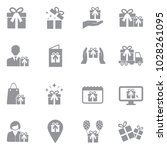gift and surprise icons. gray... | Shutterstock .eps vector #1028261095