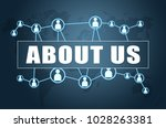 about us   text concept on blue ...   Shutterstock . vector #1028263381