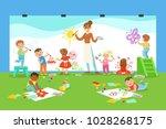 young children in art class... | Shutterstock .eps vector #1028268175