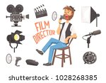 film director sitting with... | Shutterstock .eps vector #1028268385