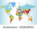 political world map | Shutterstock .eps vector #1028268901