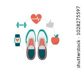 training shoes and fitness... | Shutterstock .eps vector #1028275597
