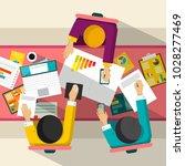 business meeting. top view flat ... | Shutterstock .eps vector #1028277469