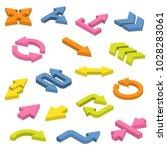 vector set of isometric arrows.   Shutterstock .eps vector #1028283061