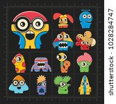 cute colorful monsters on black.... | Shutterstock .eps vector #1028284747