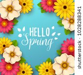 colorful spring background with ... | Shutterstock .eps vector #1028288341