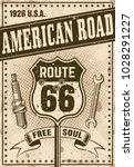 route 66 poster in vintage... | Shutterstock .eps vector #1028291227