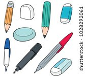 vector set of pen  pencil ... | Shutterstock .eps vector #1028292061