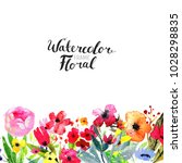 watercolor floral background.... | Shutterstock . vector #1028298835