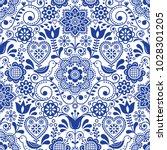 seamless folk art vector... | Shutterstock .eps vector #1028301205