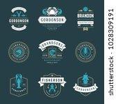 seafood restaurant logos set... | Shutterstock .eps vector #1028309191