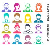 colorful vector avatar icons... | Shutterstock .eps vector #1028312461