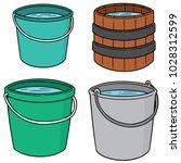 vector set of water buckets | Shutterstock .eps vector #1028312599