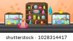 Stock vector accessories for animals care food cage etc pet store interior with shelves cabinets and items 1028314417
