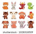 vector cute set chinese zodiac... | Shutterstock .eps vector #1028318509